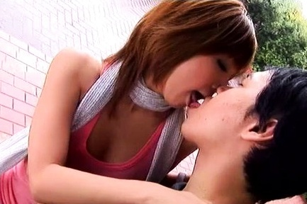 Japanese av model is kissed and has boobies sucked in the garden. Japanese AV Model is kissed and has boobies sucked in the garden